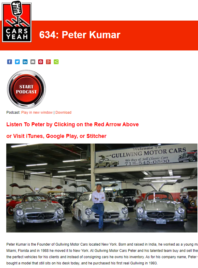 Peter Kumar from Gullwing Motor Cars. Classic car dealer. Buyer and seller Antique Cars