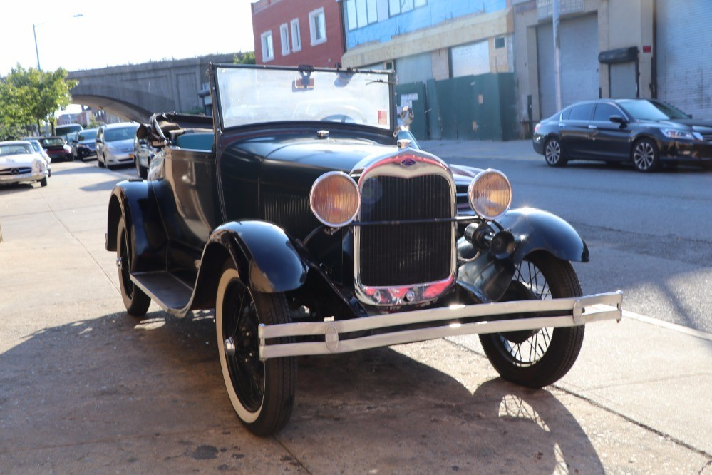 This 1928 Ford Model A Roadster is a highly collectible original car. Blue with black interior. A very solid and complete car wearing an old restoration. & 1928 Ford Model A - markmcfarlin.com